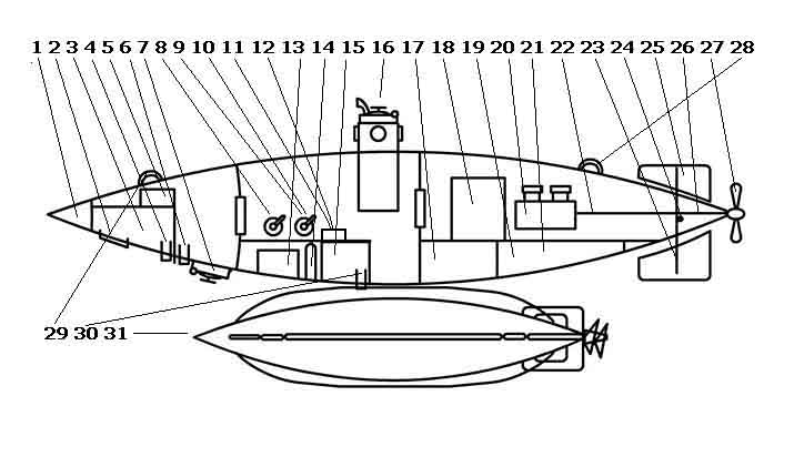 Чертеж подводной лодки №4